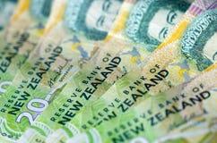 De de Muntdollar van Nieuw Zeeland neemt nota van Geld Stock Afbeeldingen