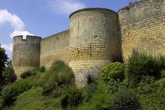 De de muren montreuil-bellay Loire van het kasteel vallei Frankrijk Stock Foto's