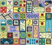 De de naadloze bloemen en harten van de patroon witth krabbel Royalty-vrije Stock Afbeelding