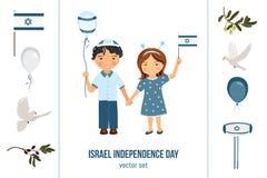 De de onafhankelijkheidsdag van Israël clipart plaatste Stock Foto's