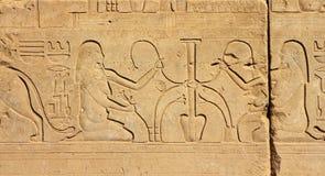 De de oude beelden en hiërogliefen van Egypte Stock Foto's