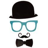 De de Photoboothverjaardag en Partij plaatsen - glazen, hoeden, kronen, maskers Stock Foto