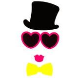 De de Photoboothverjaardag en Partij plaatsen - glazen, hoeden, kronen, maskers Royalty-vrije Stock Afbeeldingen