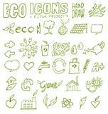 De de pictogrammenhand van Eco trekt 3 Royalty-vrije Stock Foto's