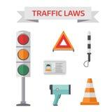 De de politiesymbolen van de verkeersweg geplaatst vlakke elementen isoleerden vectorillustratie Royalty-vrije Stock Foto