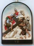 de 7de Posten van het Kruis, Jesus valt de tweede keer stock foto