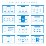 De de prijs vaststellende van componenten van lijstenwireframe prototype Stock Afbeeldingen