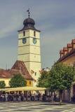 De de Raad Toren, Sibiu, Roemenië Stock Foto's