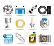 De de realistische Delen van de Auto en pictogrammen van de Diensten Stock Foto