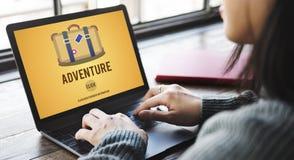 De de Reisbestemming van avonturenbackpacking wandelt Concept stock fotografie