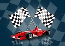 De de rode auto en vlag van Formule 1 Stock Foto