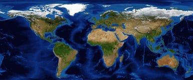 De In de schaduw gestelde Hulp van de wereld Kaart met Bathymetry stock fotografie