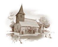 De in de schaduw gestelde schets van de kerk potlood Royalty-vrije Stock Afbeelding