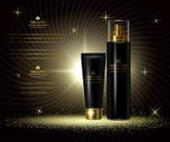 De de schoonheidsreeksen van de schoonheidsmiddelenluxe, advertenties van premielichaamscrème voor huid geven Malplaatje voor ont Royalty-vrije Stock Foto