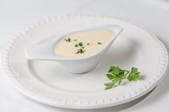 De de smakelijke saus of witte saus van Bechamel met vers groen Royalty-vrije Stock Afbeeldingen