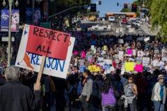 De de speciale gebeurtenis en Protesteerders van Vrouwenmaart rond Los Angeles Stock Afbeelding