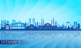 De de stadshorizon van Istanboel detailleerde silhouet Stock Foto