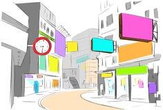 De de stadsmening van het straatcentrum trekt kleurrijke schetswinkels royalty-vrije illustratie
