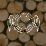 de de stijlachtergrond van de timmermansambacht met specht verminderde rond een boom Stock Afbeelding