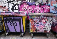 De de straatkunst van de Hosiersteeg is één van de belangrijkste toeristenaantrekkelijkheid in Melbourne Stock Afbeeldingen