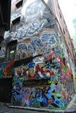 De de straatkunst van de Hosiersteeg is één van de belangrijkste toeristenaantrekkelijkheid in Melbourne Royalty-vrije Stock Afbeelding
