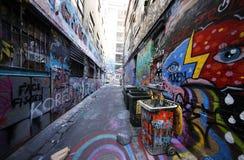 De de straatkunst van de Hosiersteeg is één van de belangrijkste toeristenaantrekkelijkheid in Melbourne Stock Fotografie