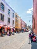 De de straatmening van de binnenstad van Mexico-City Stock Foto's