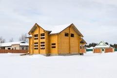 De de structuur houten bouw van het logboekhuis Stock Fotografie