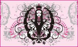 De de symmetrische achtergrond en koningin van Grunge - vector Stock Foto