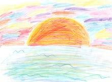 De de tekenings kleurrijke zonsondergang van een kind Royalty-vrije Stock Foto's
