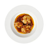De de tomatenolijfolie van zeevruchten, het Italiaans isoleerde wit Royalty-vrije Stock Afbeelding