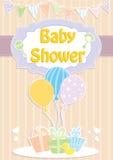 De de uitnodigingskaart van de babydouche, met ballons en stelt voor Royalty-vrije Stock Foto