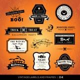 De de uitstekende etiketten en kaders van Halloween Stock Afbeeldingen