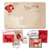 De uitstekende Prentbriefkaar van Kerstmis Stock Afbeeldingen