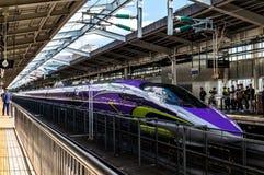 De de ultrasnelle treinhogesnelheidstrein of Shinkansen van 500 TYPEeva Royalty-vrije Stock Fotografie