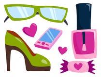 De de vectorkleding en toebehoren van het de zomermeisje isoleerden het winkelen punten en mooie schoonheidsmiddel of make-up Stock Foto