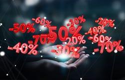 De de verkooppictogrammen van de vrouwenholding in haar overhandigen het 3D teruggeven Royalty-vrije Stock Fotografie