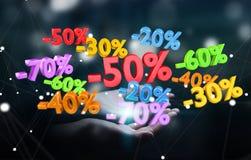 De de verkooppictogrammen van de vrouwenholding in haar overhandigen het 3D teruggeven Royalty-vrije Stock Foto's