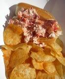 De de verleidende Sandwich en Spaanders van het Zeekreeftbroodje Royalty-vrije Stock Fotografie