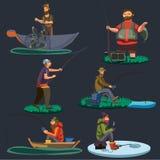 De de vissenzitting van vissersvangsten op boot en voor de kust, visser wierp hengel in water, gelukkige houdt fishman vangst en vector illustratie