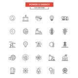 De de vlakke Macht en Energie van Lijnpictogrammen Stock Fotografie