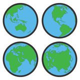 De de vlakke symbolen of pictogrammen van de aardebol Stock Foto's