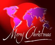 De de vrolijke kaart of bol van de Kerstmiswereld Stock Afbeeldingen