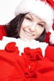 De de vrouwenholding van Kerstmis stelt zakken voor stock afbeeldingen