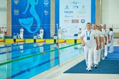 31 07 2017 - 07 08 2017 de 15de Wereld Junior Championships van Finswimming |Tomsk Stock Foto