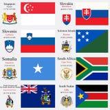 De de wereldvlaggen en kapitalen plaatsen 22 Royalty-vrije Stock Foto's