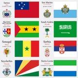 De de wereldvlaggen en kapitalen plaatsen 21 Royalty-vrije Stock Afbeeldingen