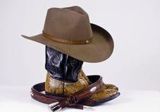 De de westelijke laarzen en riem van de Hoed Stock Foto's