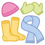 De de winterkleding GLB mept Vuisthandschoenensjaal stock illustratie
