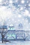 De de winterstad kijkt voorbij de omheining - Grafische het schilderen textuur Royalty-vrije Stock Foto's